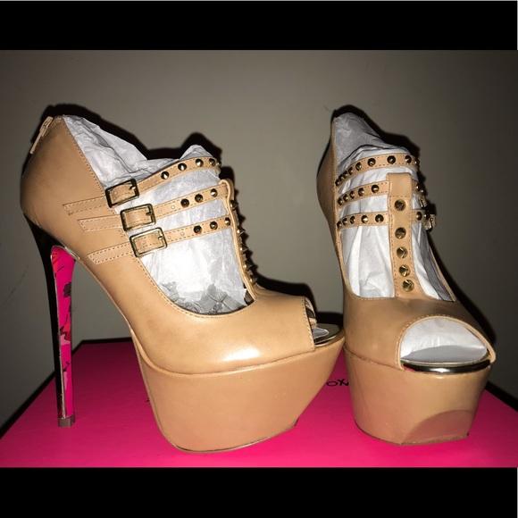 f7374cc7c1 Betsey Johnson Shoes | Nude Studded Platform Heels | Poshmark